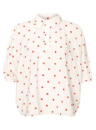 White - Polka Dot - Point Collar - Blouses