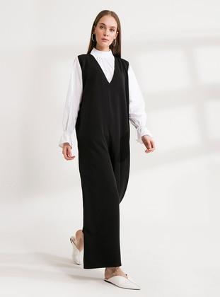 Black - Black - Unlined - V neck Collar - Cotton - Jumpsuit