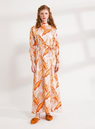Orange - Orange - Floral - Multi - Polo neck - Unlined - Cotton - Dress