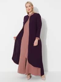 Dusty Rose - Plum - Crew neck - Unlined - Plus Size Abaya