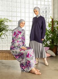 Gray - Gray - Floral - Multi - Crew neck - Unlined - Cotton - Dress