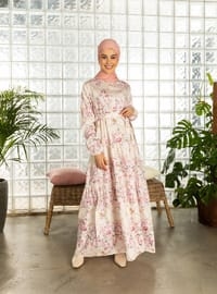 Pink - Pink - Floral - Multi - Crew neck - Unlined - Cotton - Dress