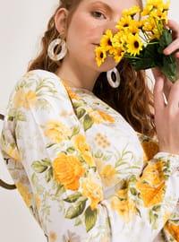 White - Yellow - Crew neck - Unlined - Cotton - Dress