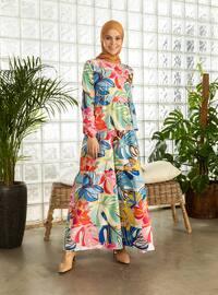 Blue - Blue - Floral - Multi - Crew neck - Unlined - Cotton - Dress