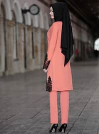 Unlined - Coral - Crew neck - Evening Suit