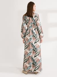 Green - Floral - Multi - Polo neck - Unlined - Cotton - Modest Dress