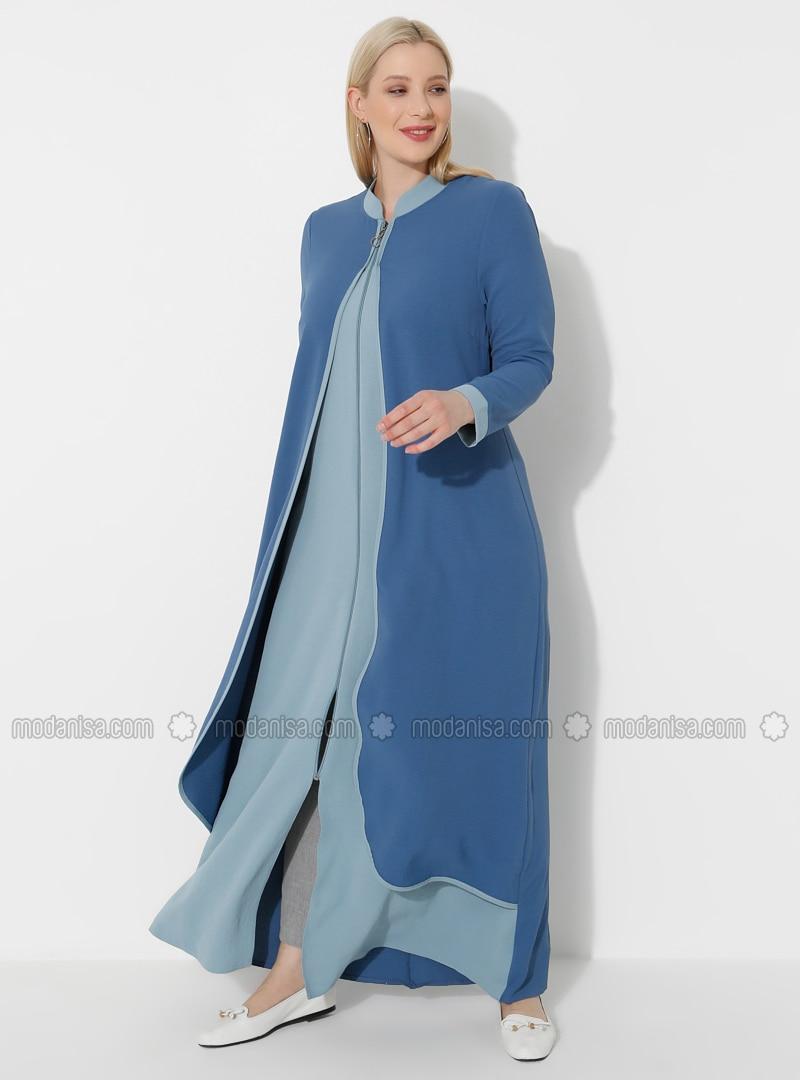 Indigo - Blue - Crew neck - Unlined - Plus Size Abaya