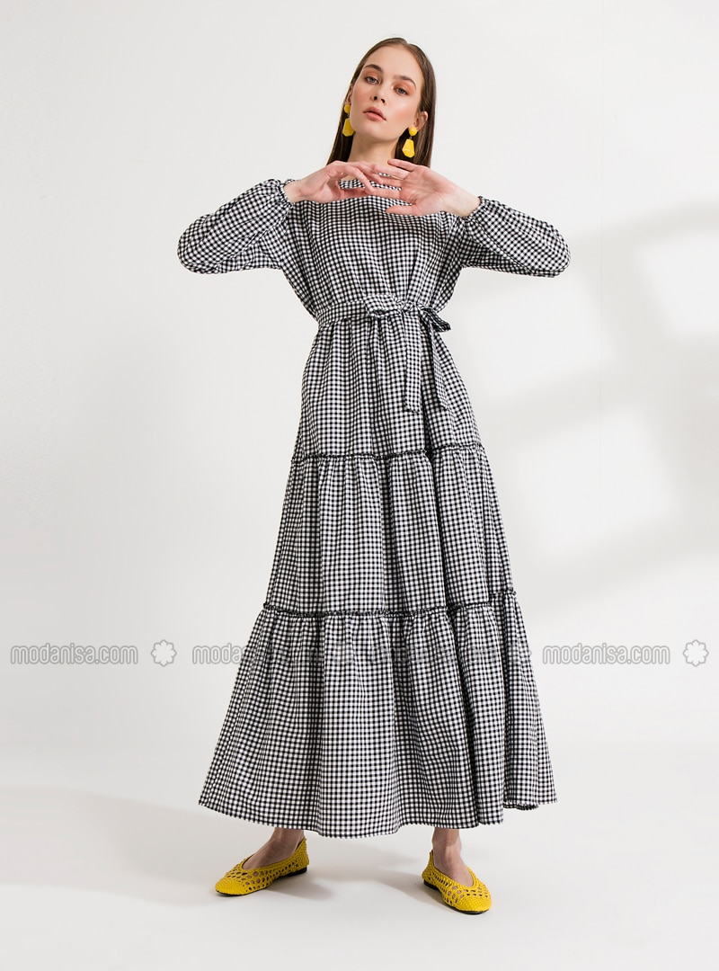 Black - Black - Crew neck - Unlined - Cotton - Dress