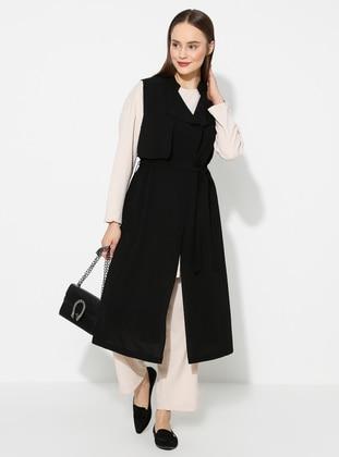 Black - Shawl Collar - Vest