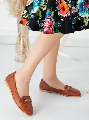 Tan - Flat - Flat Shoes