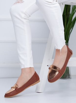 Silver - Tan - Flat - Flat Shoes