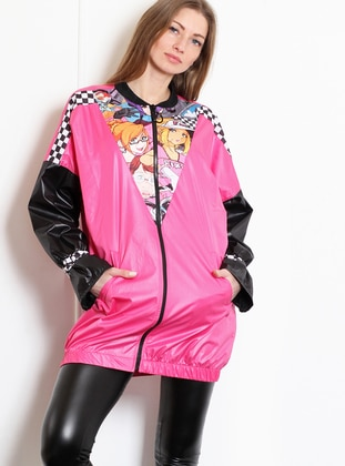 Fuchsia - Unlined - Crew neck - Acrylic - Puffer Jackets