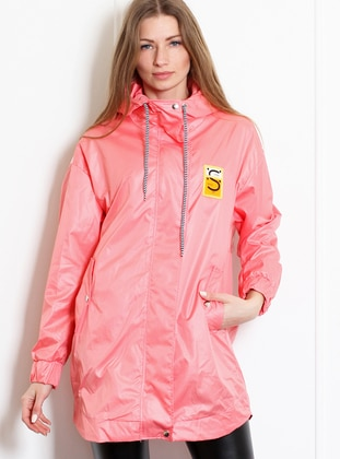 Pink - Unlined - Polo neck - Acrylic - Puffer Jackets