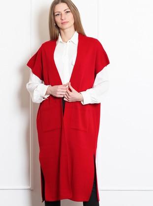 Red - Unlined - - Wool Blend - Vest