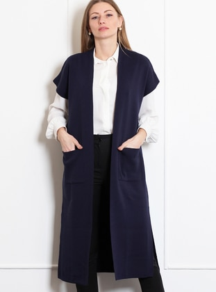 Navy Blue - Unlined -  - Wool Blend - Vest - Pinkmark