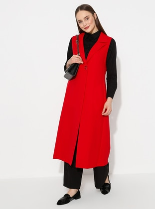 Red - Shawl Collar - Vest