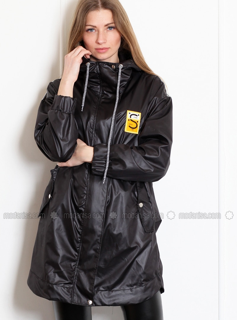 Black - Unlined - Polo neck - Acrylic - Puffer Jackets