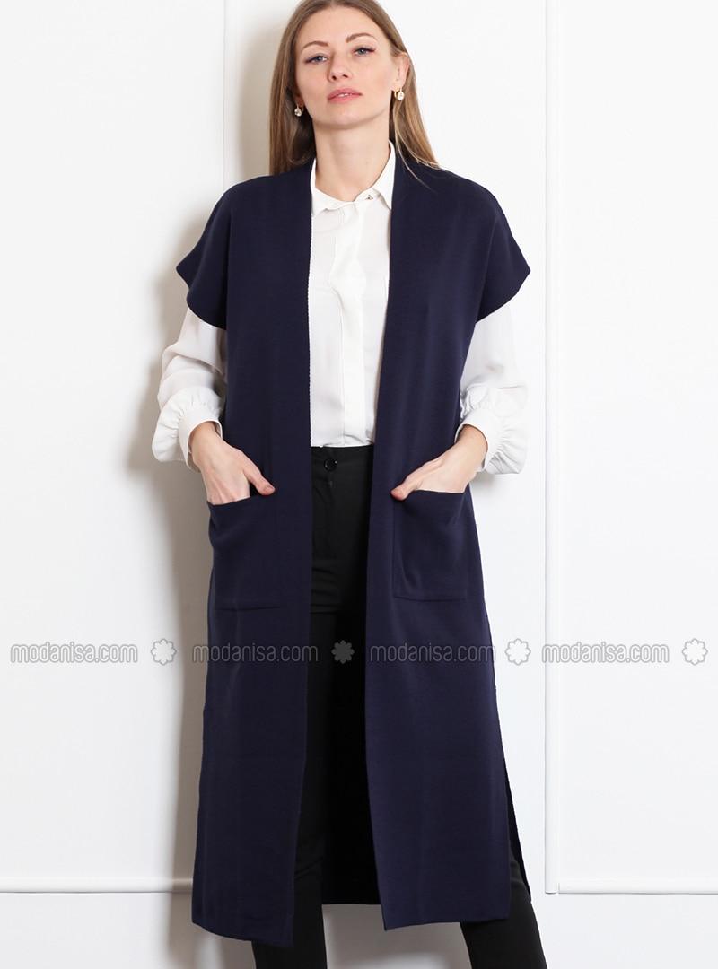 Navy Blue - Unlined -  - Wool Blend - Vest