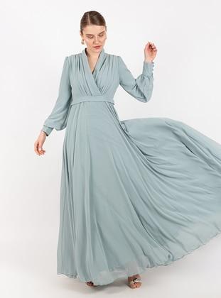 Mint - V neck Collar - Fully Lined - Dress