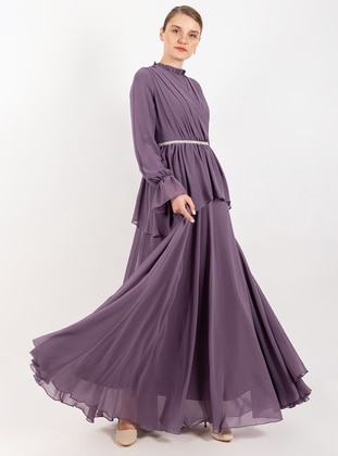 Purple - Polo neck - Fully Lined - Dress
