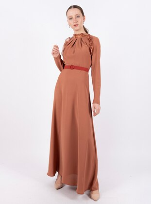 Brown - Polo neck - Fully Lined - Dress