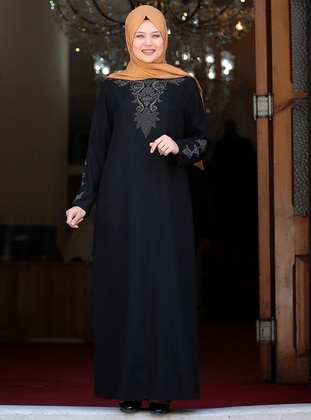 Black - Unlined - Crew neck - Crepe - Plus Size Dress