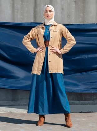 Tan - Unlined - Point Collar - Denim - Jacket