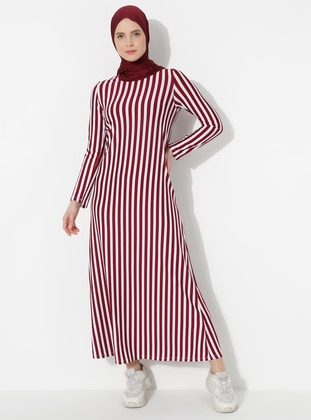 Maroon - Stripe - Crew neck - Dress