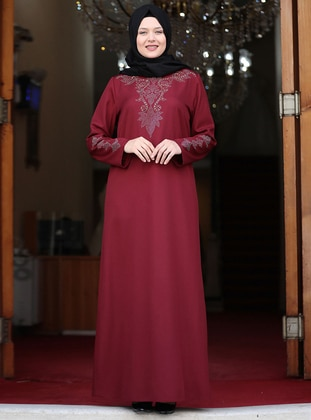 Maroon - Unlined - Crew neck - Crepe - Plus Size Dress