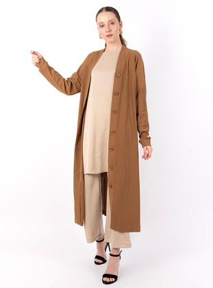 Brown - V neck Collar - Cardigan - Loreen By Puane
