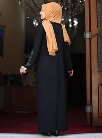 Black - Unlined - Crew neck - Crepe - Plus Size Dress