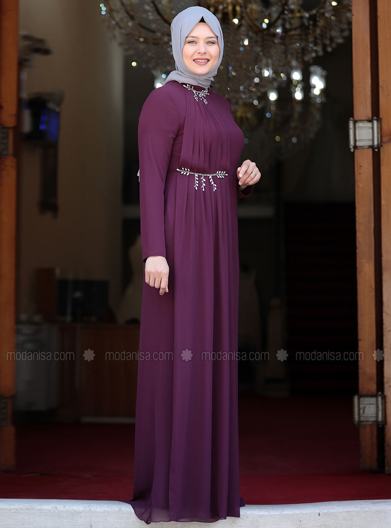 Purple - Fully Lined - Crew neck - Muslim Plus Size Evening Dress