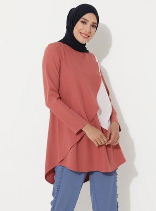 White - Dusty Rose - Crew neck - Tunic