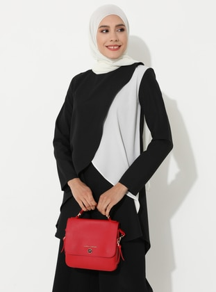 White - Black - Crew neck - Tunic