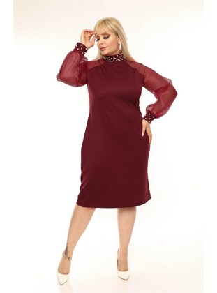 Maroon - Plus Size Dress