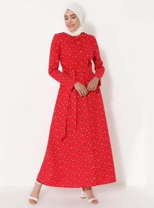 Red - Polka Dot - Crew neck - Unlined -  - Dress