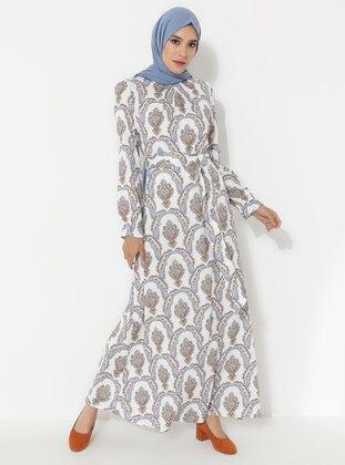 Ecru - Ethnic - Crew neck - Unlined -  - Dress
