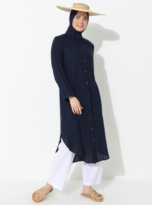 Navy Blue - Navy Blue - Point Collar - Cotton - Tunic