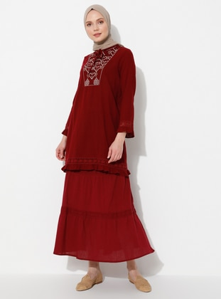 Maroon - Fully Lined - Cotton - Skirt