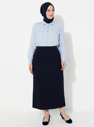 Navy Blue - Fully Lined - Plus Size Skirt - Arıkan