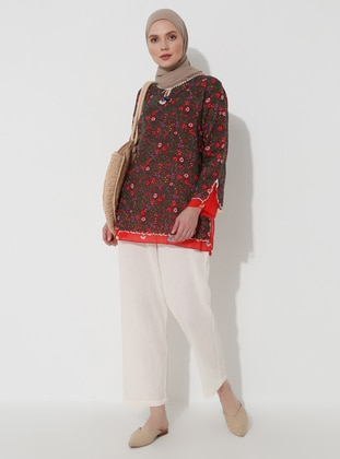 Green - Khaki - Floral - Crew neck - Cotton - Tunic