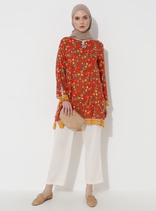 Orange - Multi - Crew neck - Cotton - Tunic