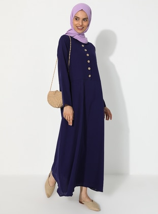 Purple - Point Collar - Fully Lined -  - Dress