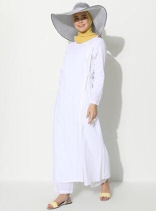 White - Unlined - Crew neck - Cotton - Abaya
