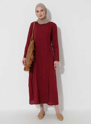 Maroon - Maroon - Unlined - Crew neck - Cotton - Abaya