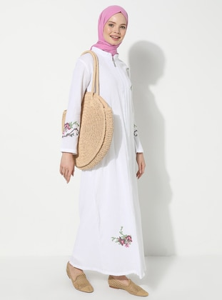 White - White - Unlined - Crew neck - Cotton - Abaya