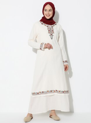 Cream - V neck Collar - Fully Lined - Cotton - Dress