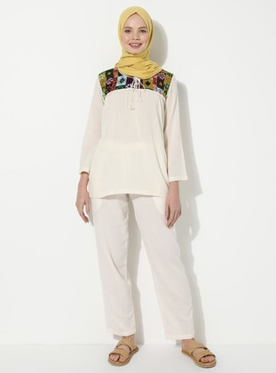 Cream - Cotton - Pants