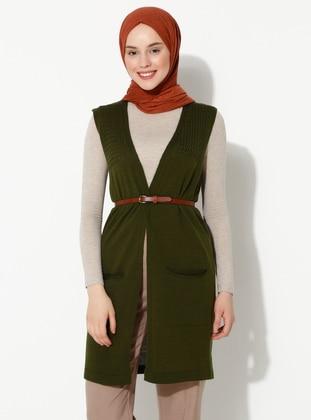 Khaki -  - Vest - İLMEK TRİKO