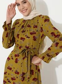 Jaune - Floral - Col rond - Tissu non doublé -  - Robe